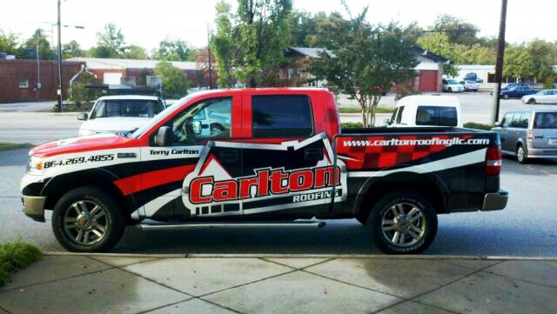Carton Roofing Truck Wrap